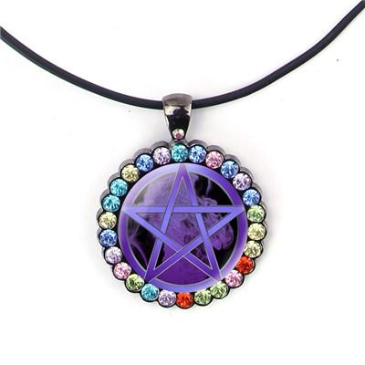 Purple pentagram pendant.