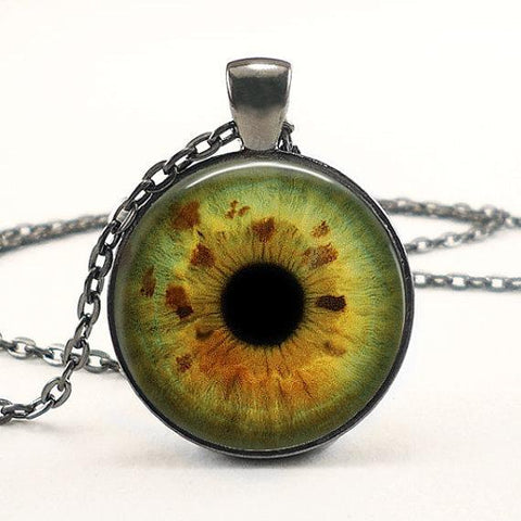 Amber yellow cat eye necklace.
