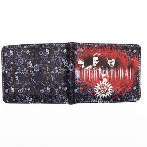 Supernatural wallet with red Sam and Dean abstract spread open.