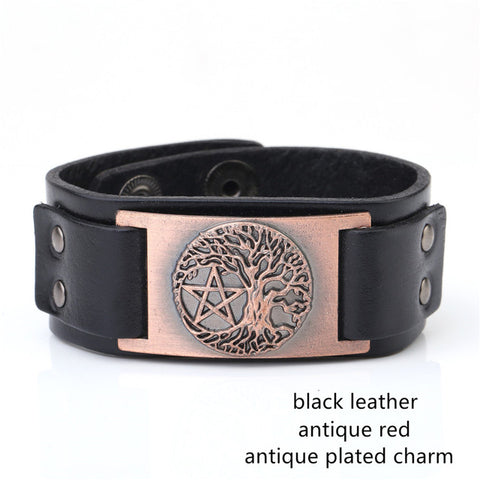 Picture of copper Tree Of Life and Pentagram bracelet.