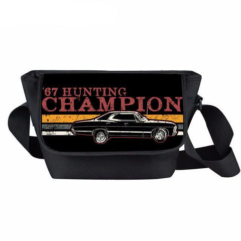 Supernatural messenger bag with '67 Hunting Champion printed on it.