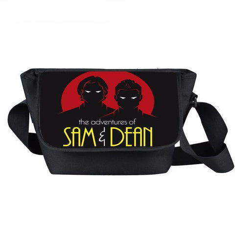 Supernatural messenger bag with Sam and Dean printed on it.