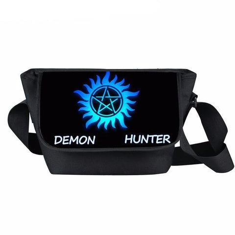 Supernatural messenger bag with Demon Hunter and logo printed on it.