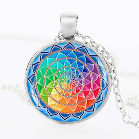 Picture of mandala necklace in silver.