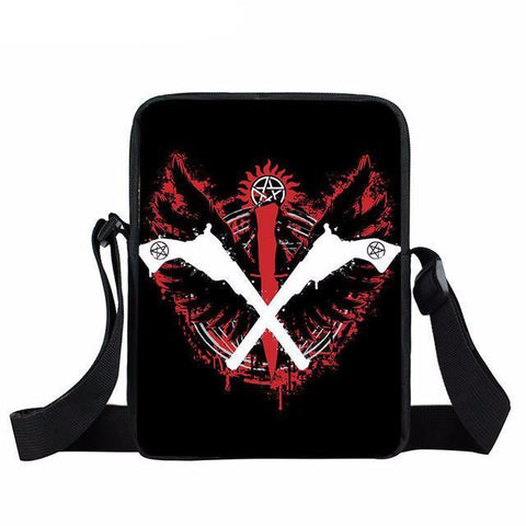 Supernatural messenger bag with crossed guns printed on it.