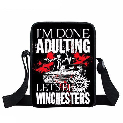 Supernatural messenger bag with I'm Done Adulting written on it.