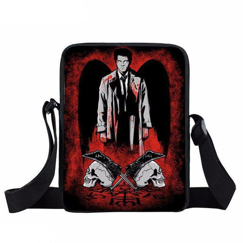 Supernatural messenger bag with Castiel printed on it.