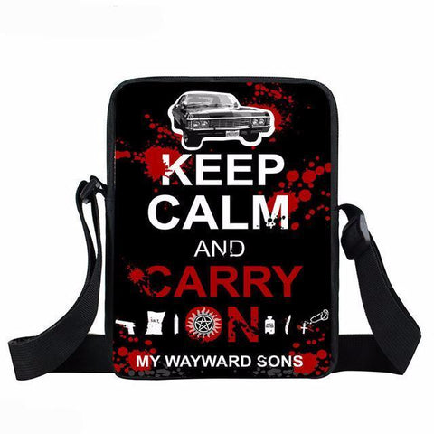 Supernatural messenger bag with Keep Calm and Carry On written on it.