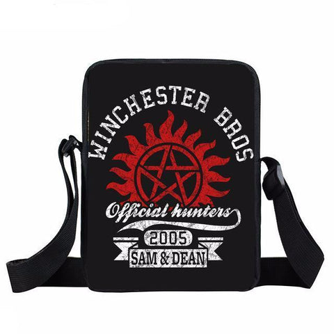 Supernatural messenger bag with red anti-possession printed on it.