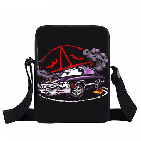 Supernatural messenger bag with drawing of Impala printed on it.
