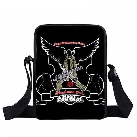 Supernatural messenger bag with Pest Control written on it.