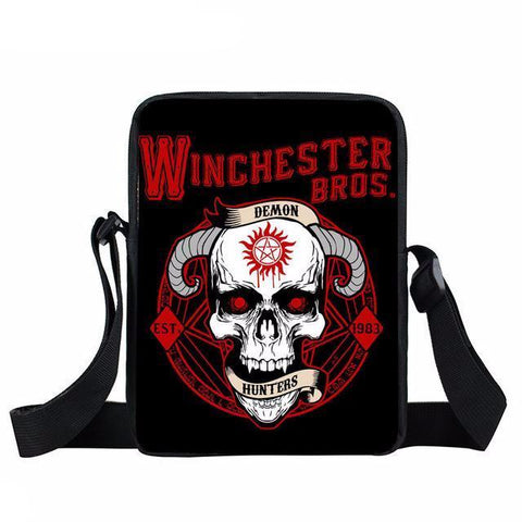 Supernatural messenger bag with a wicked skull printed on it.