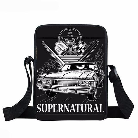 Supernatural messenger bag with a close-up of the Impala printed on it.