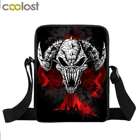 Supernatural messenger bag with an evil goat demon printed on it.