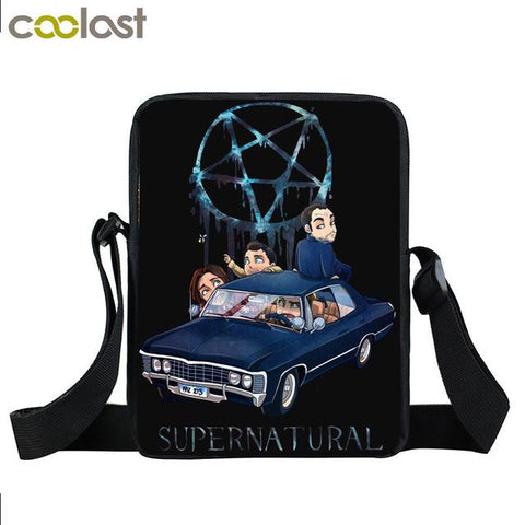 Supernatural messenger bag with Winchester Brothers written on it.cartoon characters of the cast printed on it.