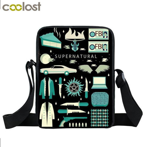 Supernatural messenger bag with Supernatural symbols printed on it.