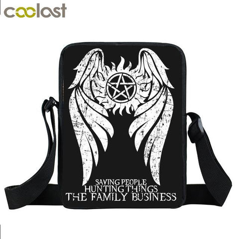 Supernatural messenger bag with angel wings printed on it.