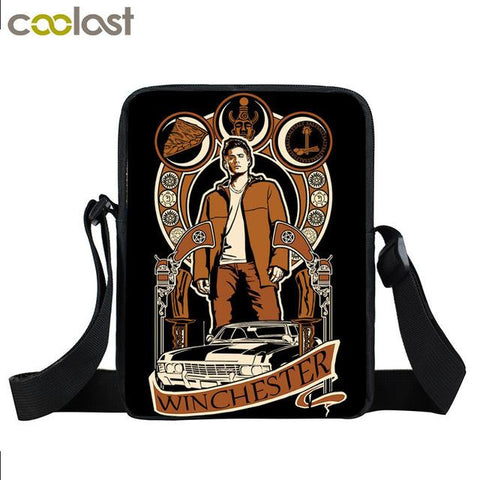 Supernatural messenger bag with a Winchester drawn on it.