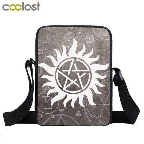 Supernatural messenger bag with an anti-possession symbol printed on it.