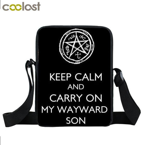 Supernatural messenger bag with Keep Calm and Carry On My Wayward Son written on it.