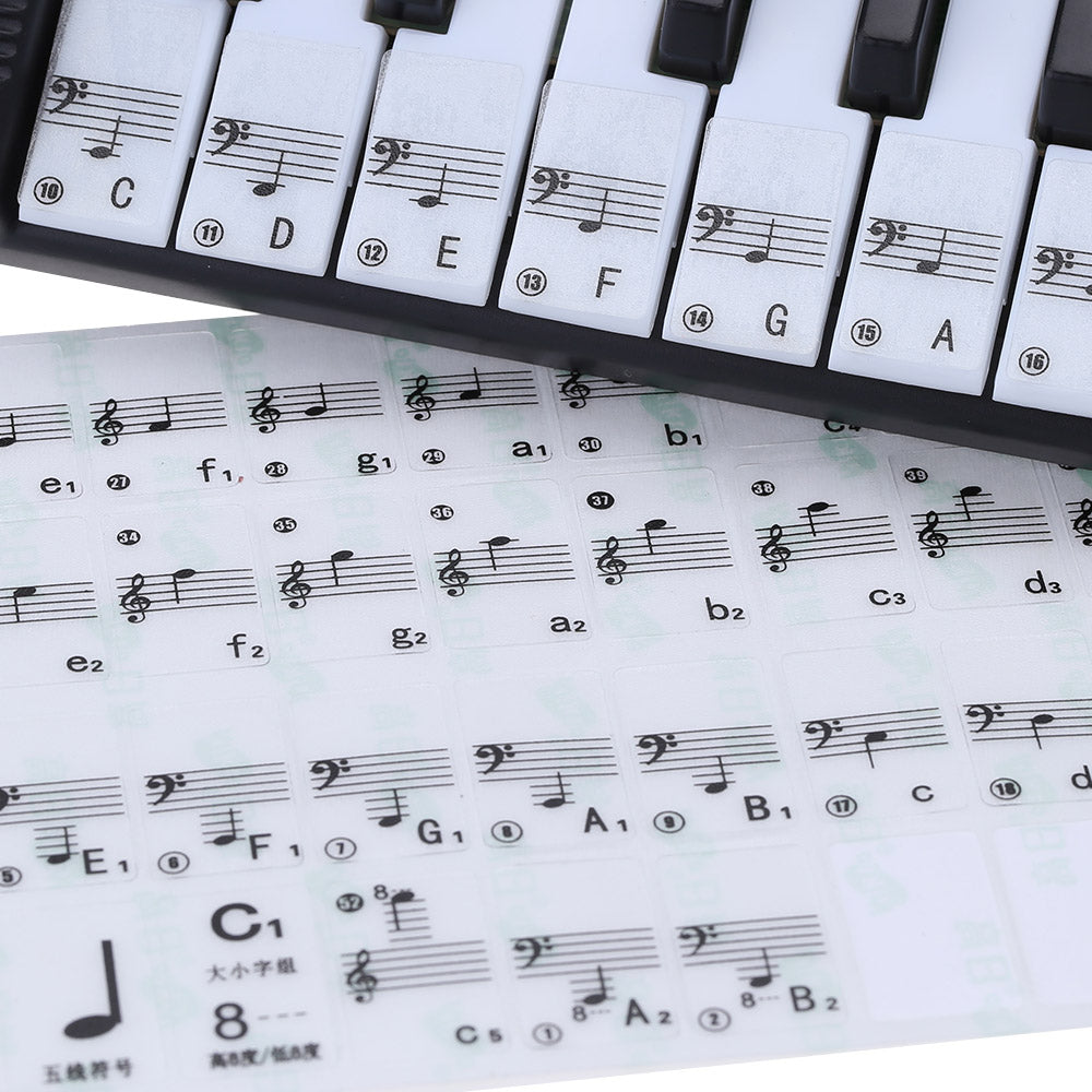 Find the notes to your favorite songs!  88 Key Piano Stave Note Sticker for White Keys