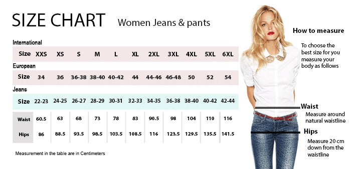 size chart women jeans and pants