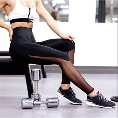Women Fitness Leggings Running Tulle Perspective Trousers