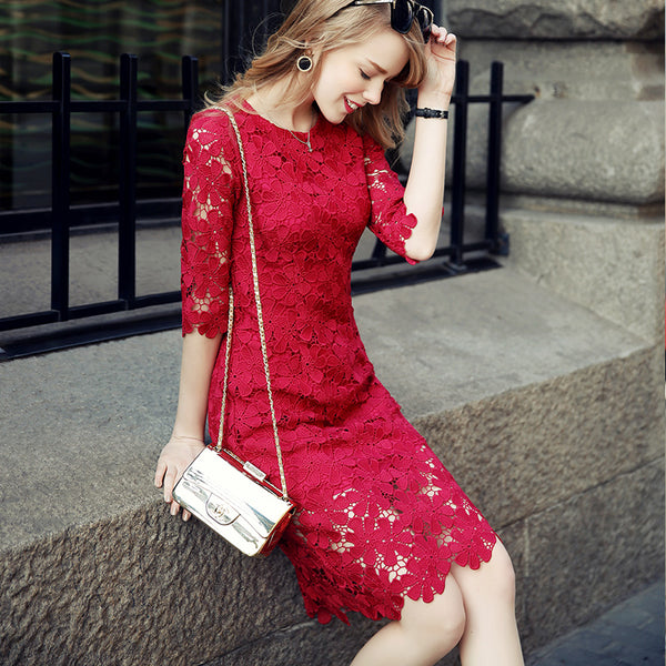 2017 Summer Women's Fashion Lace Dress Hollow Out Sexy Dress Slim Party Elegant  Women Dress Vestidos Vintage SunDresses - ilovealma