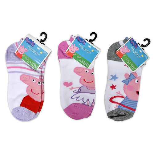 Peppa Pig Little Girl's Anklets Socks 3 Pairs (Size 6-8)