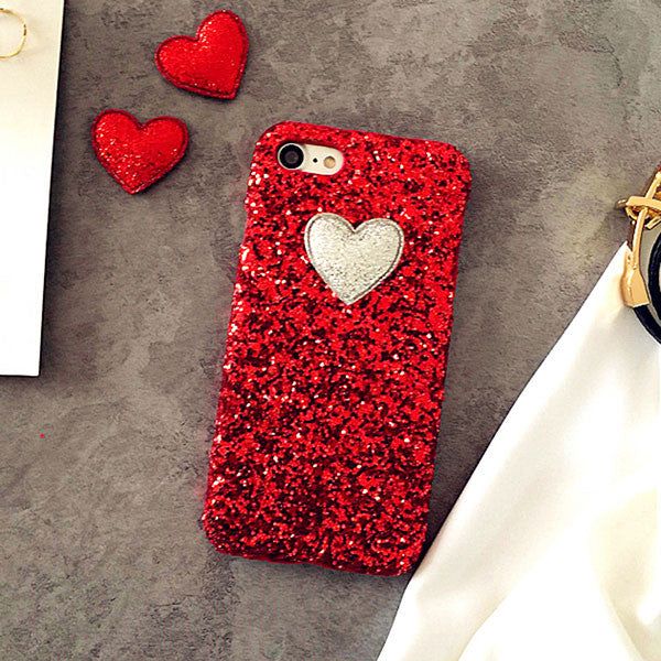 3D DIY Love Heart Case For iphone 7 6 6S Plus SE 5 5S Funda Fashion Bling Glitter Sparkle Powder Phone Cases Hard PC Back Cover - ilovealma
