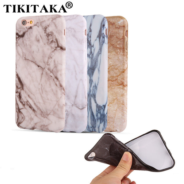 6 6s Hot Selling Fashion Marble Stone Back Cover Soft TPU Phone Case for iPhone 5 5s SE 6 6S / Plus Coque Ultra thin Smooth Case - ilovealma