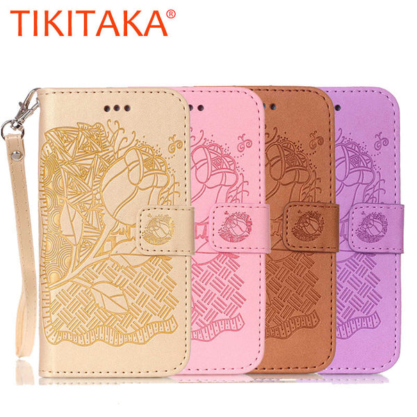 3D Embossing Flower Wallet Leather Flip Case For Apple iphone 7 6 6s Plus SE 5 5s Cover Coque Fundas Multi-functional Phone Bags - ilovealma