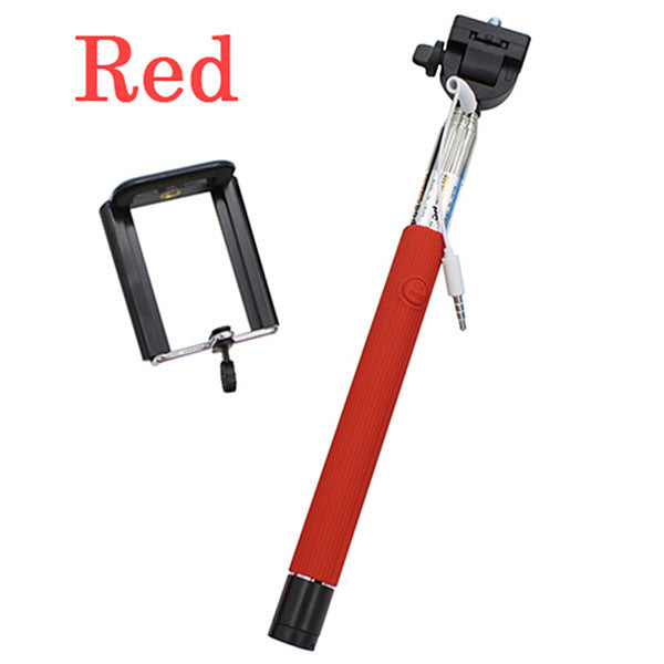 22-100cm Portable Extendable Handheld Monopod Audio Cable Wired Palo Selfie Stick Self-Pole Artifact For Iphone Samsung Android - ilovealma