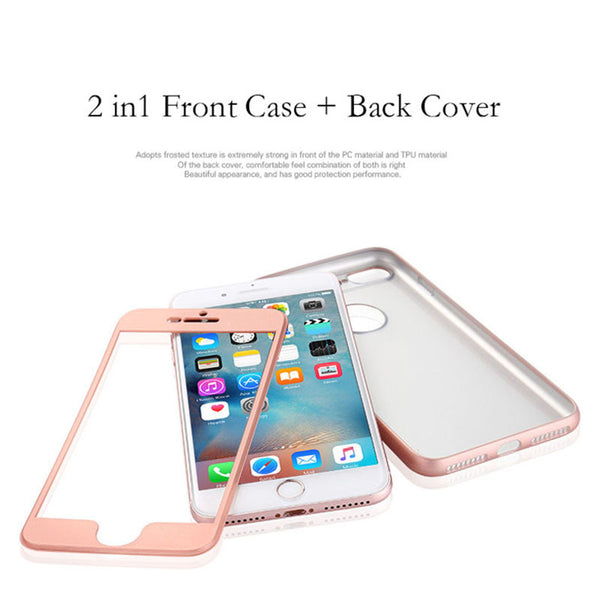 360 Degree Phone Cases For iPhone 7 6 6s Plus Funda Luxury 2 in 1 Armor PC Front Case + Soft TPU Silicone Full Cover Capa Coque - ilovealma