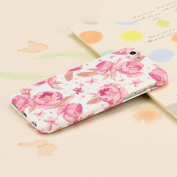 3D Embossed Matte 360 Full Body Protection Case For iPhone 6 6s Plus Cover Fashion Flower Frosted Funda Shell + Tempered Glass - ilovealma