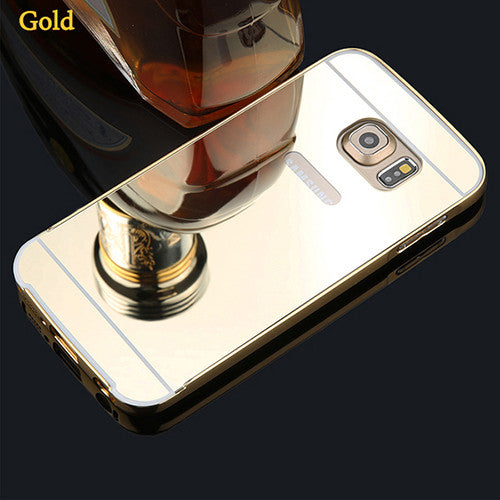 online store 9671e d5107 S6 Fashion Mirror Case 2 in 1 Plating Metal Frame Bumper + Ultra thin  Mirror PC Hard Cover Case For Samsung Galaxy S6 S6 edge
