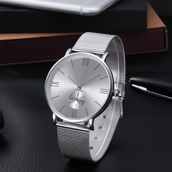 2017 Dress Watches Women Fashion Roman Numberal Women Stainless Steel Analog Mesh Quartz Wrist Watch For Women relogio feminino - ilovealma
