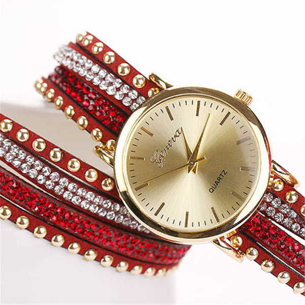 2017 New Limited Acrylic Free Shipping Fashion & Casual Watches Women Rivet Bracelet Quartz Braided Winding Wrap Wristwatch - ilovealma