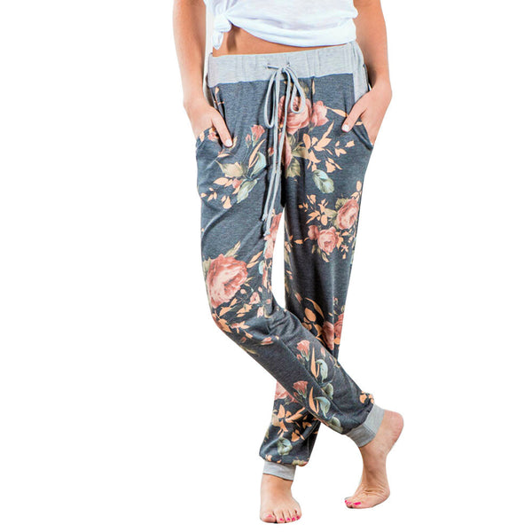 2017 Fashion Sweat Pants Women Floral Printed Loose Stretch High Waist Wide Leg Long Pants Trousers Tapered Leg Pants Sexy Pants - ilovealma