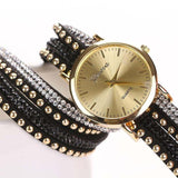 2017 Fashon Women Crystal Rivet Bracelet Quartz Wrist Watch PU Leather Wrap WristWatches Clock Female relogio feminino &22 - ilovealma