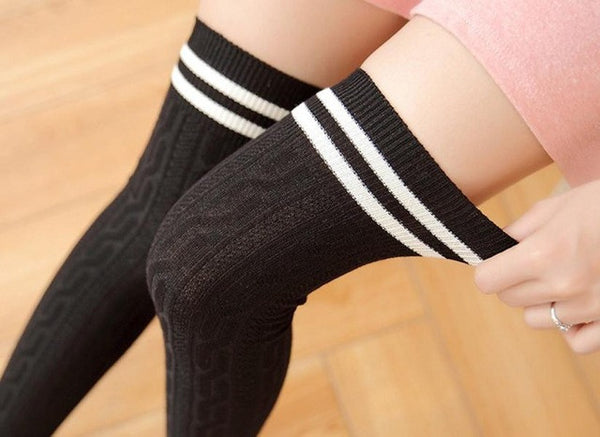3 Colors Football Socks Soccer lacrosse Rugby Sport Knee High Socks Over The Knee # - ilovealma