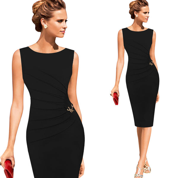 c00654fb6a922 Vfemage Womens Celebrity Elegant Vintage Ruched Pinup Wear To Work Office  Business Casual Party Fitted Bodycon Pencil Dress 6136