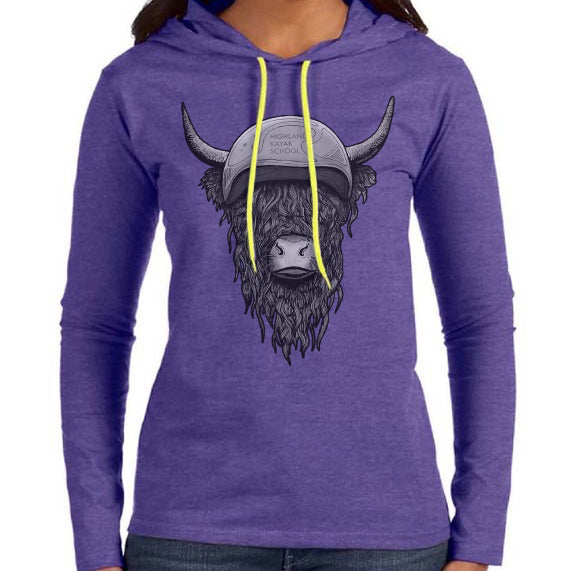 Ladies Highland Coo Long Sleeve Hooded Tee