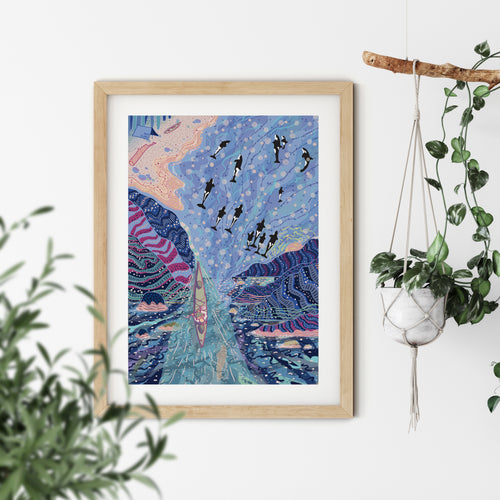 Sea Kayakers Whale Dreaming Print