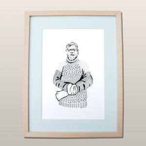 Shackleton - Original ink drawing framed