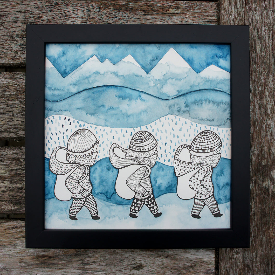 Hikers Watercolour Original Mixed Media Piece