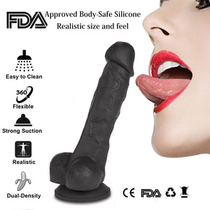 "7"" Realistic Dildo with Suction Cup, Skin-Friendly"