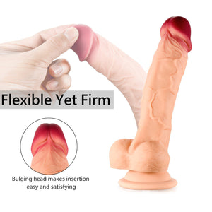 "7"" Realistic Dildo with Suction Cup, Skin-Friendly (Flesh)"