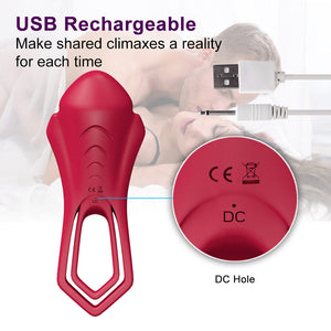 Remote Control Double V Cock Ring for Couples