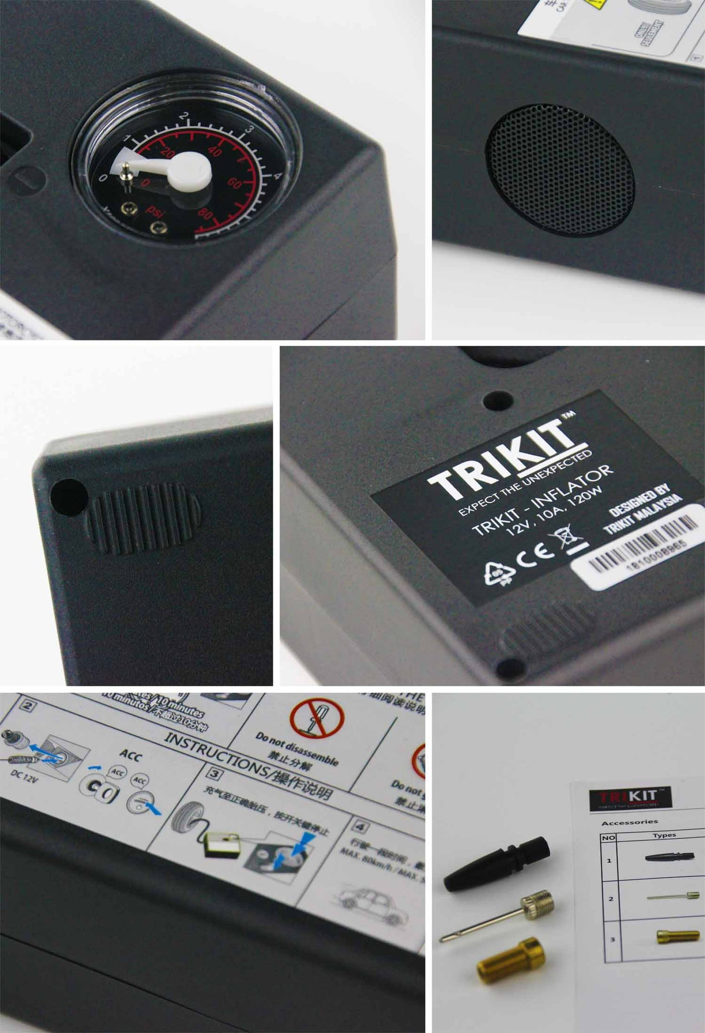 TRIKIT AIRTIRE PORTABLE ELECTRIC TIRE INFLATOR